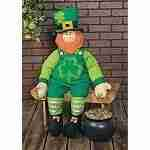 Stuffable Leprechaun Wearing Top Hat St Patrick's Day Welcoming Guest Greeter Porch Patio Decoration