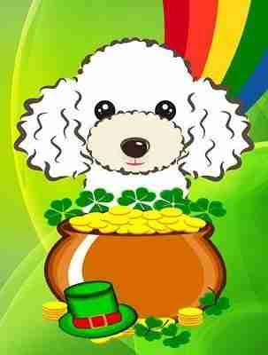 White Poodle St. Patrick's Day Flag, Garden Size