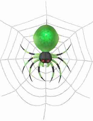 2 ft Projection Airblown Green Spider on the Web Halloween Inflatable