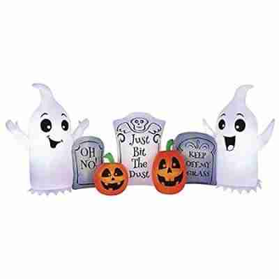 8 ft W x 3.5 ft H fun ghost and tombstone inflatable halloween decorations indoor outdoor yard decor with energy efficient led lights