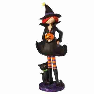 18 inch Glittered Witch and Cat Halloween Figure Decoration - Black Orange