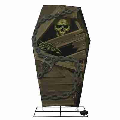 48 inch Halloween Prelit LED Skeleton in Coffin with Timer