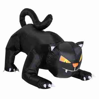 6 ft Long Outdoor Lighted Airblown Inflatable Halloween Lawn Decoration - Crouching Black Cat