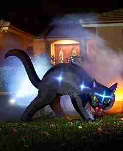 Halloween Lighted Inflatable Black Cat
