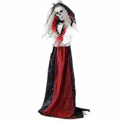 Life-Size Animated Moaning Skeleton Bride Prop with Flashing Red Eyes