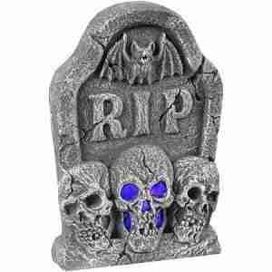 Light Up Skull Tombstone Halloween Decoration
