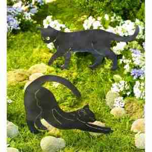 Metal Cat Silhouette Sculptures Garden Décor with Ground Stakes, Set of 2