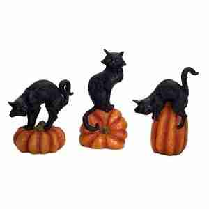 Set of 3 Black Cats Sitting on Pumpkins Halloween Tabletop Decorations