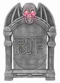 Tombstone with Light-up Skull