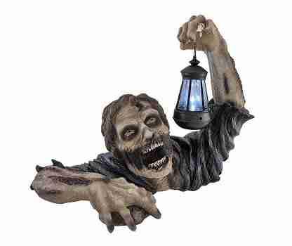 Dead Rising Zombie Holding Lantern Solar Powered Garden Light Lamp