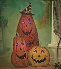 Halloween Lighted Eyes Wooden Pumpkin Trio Spooky Greeter Haunted House Patio Decor