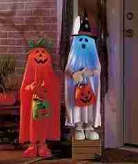 Set of 2 Lighted Color Changing Halloween Trick or Treaters Pumpkin & Ghost Kids Greeters Haunted House Decor