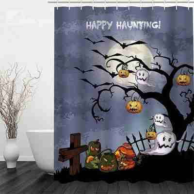 3D Halloween Jack-o-Lanterns Spirits Polyester Waterproof Antibacterial and Eco-friendly Shower Curtain