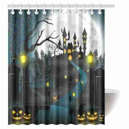 Creepy Graveyard with Castle and Pumpkins Art Bathroom Shower Curtain Set with Hooks