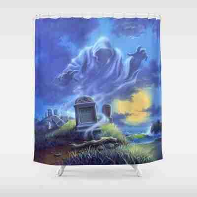Ghost Beach Tombstones Shower Curtain