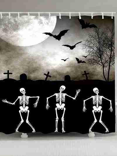 Haunted Graveyard Skeleton Halloween Waterproof Shower Curtain