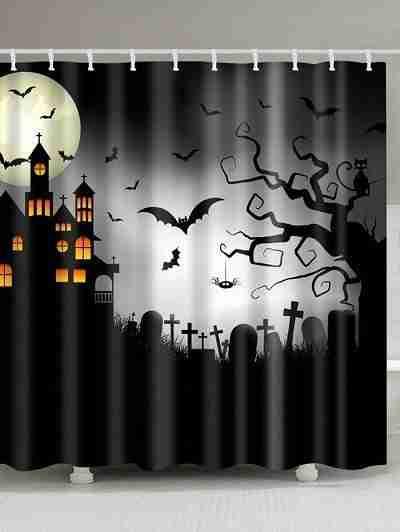 Halloween Castle Cemetery Print Waterproof Bathroom Shower Curtain