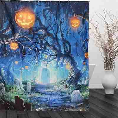 Halloween Ghost Pumpkin Polyester Shower Curtain Bathroom Decor with 12 Hooks