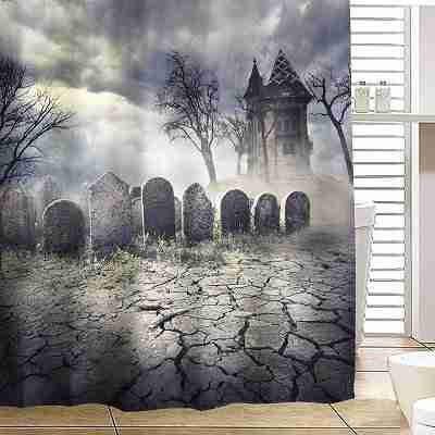 Halloween Haunted House Polyester Shower Curtain Bathroom Decor with 12 Hooks