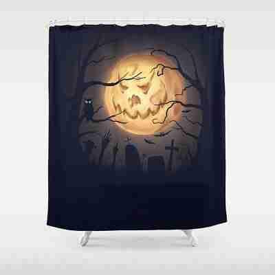 Halloween Graveyard Jack-o-Moon Shower Curtain