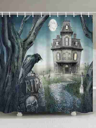 Halloween Haunted House Mystery Castle Mouldproof Shower Curtain