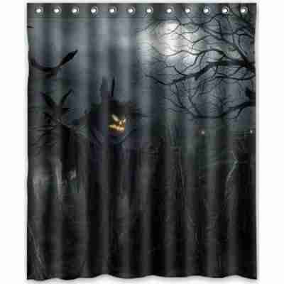 Halloween Pumpkin Jack O Lantern Spirit Festival Bathroom Shower Curtain
