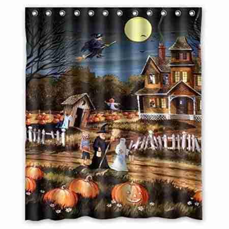 Halloween Wizard Pumpkin Ghost Waterproof Polyester Shower Curtain
