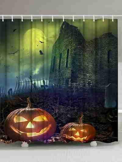 Pumpkin in Spooky Graveyard in Old Stone Haunted House in Gloomy Dark Night Shower Curtain