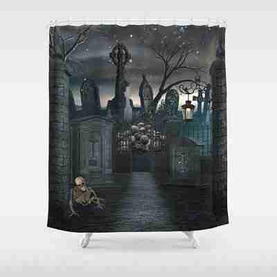 Spooky Graveyard Halloween Churchyard Scary Creepy Skeleton Tombstone Shower Curtain