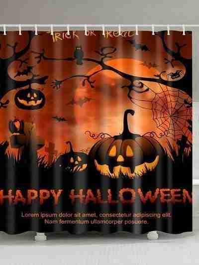 Tombstone Pumpkin Halloween Shower Curtain