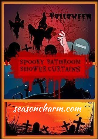 haunted halloween graveyard bathroom shower curtains