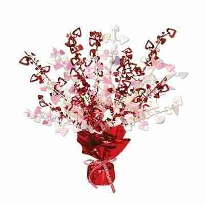 Pack of 12 Red and Opalescent Heart Gleam 'N Burst Valentines Centerpieces 15 inches