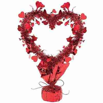 Red Tinsel Heart Centerpiece