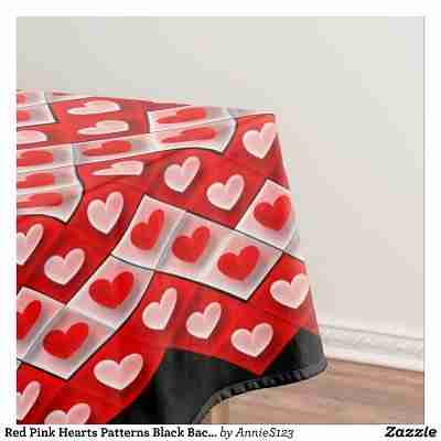 Red Pink Hearts Patterns Black Background Tablecloth