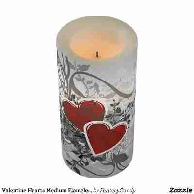 Valentine Hearts Medium Flameless Candle