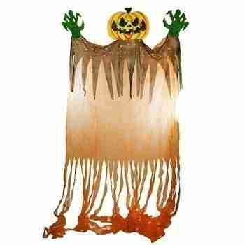 11 ft Scary Jack-o'-Lantern with Monster Hands Hanging Halloween Decoration