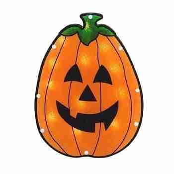 12inch Lighted Holographic Pumpkin Halloween Window Silhouette Decoration