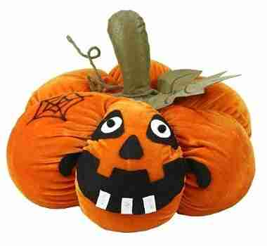 15 inch LED Lighted Plush Orange Jack-o-Lantern Pumpkin Halloween Decoration