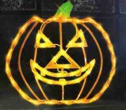 15 inch Lighted Halloween Jack-o-Lantern Pumpkin Window Silhouette Decoration