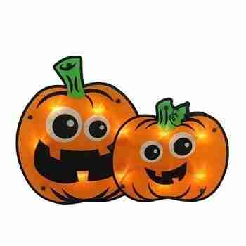 16.25 inch Lighted Jack-o-lantern Pumpkin Couple Halloween Window Silhouette Decoration