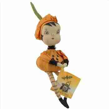 "18"" Pumpkin Girl Decorative Halloween Figure"