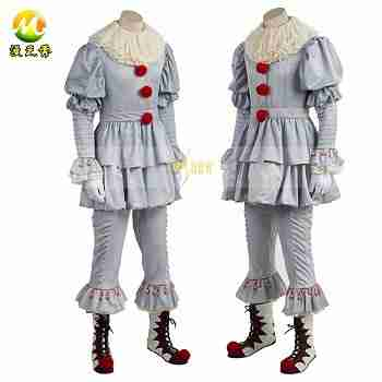 Horror-Movie-Stephen-King-s-It-Pennywise-Cosplay-Costume-Halloween-Party-Joker-Full-Set-with