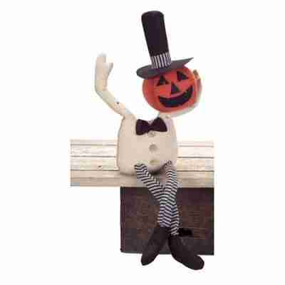 25 Inch Spooky Shelf Sitting Bendable Pumpkin Man Halloween Table Top Decoration