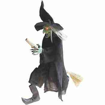 "42""H Flying Green-Faced Witch"