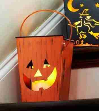 7inch Distressed Orange Pumpkin Halloween Candle Lantern Luminary