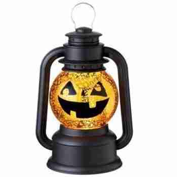 9.5 inch Black and Orange Speckled Jack-O-Lantern Lighted Glitterdome Lantern Table Top Decoration