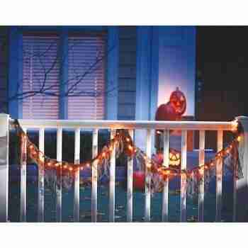 Black Lighted Garland with Orange Lights Halloween Decoration