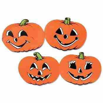 Club Pack of 48 Assorted Orange Pumpkin Cutout Halloween Decorations 12 inch