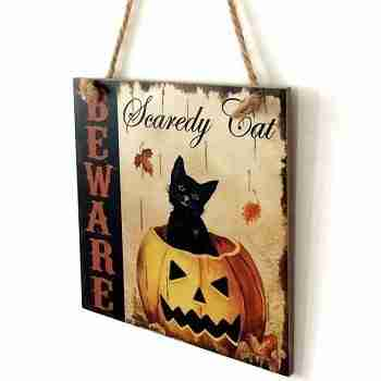 Halloween Pumpkin Cat Pattern Wooden Hanging Sign