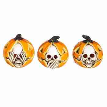 Hear, See, Speak No Evil LED Skull Pumpkins
